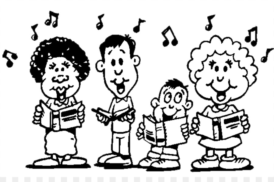 Choir clipart holiday. Singing black and white