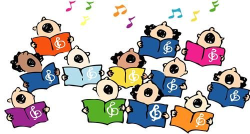 Children singing scrapbook pinterest. Chorus clipart cute
