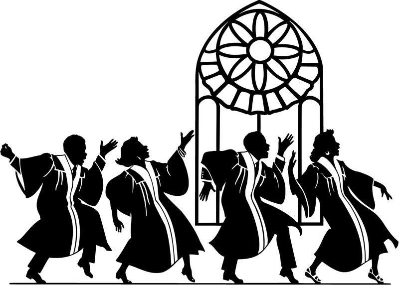 Choir clipart silhouette. Gospel singer kid sing