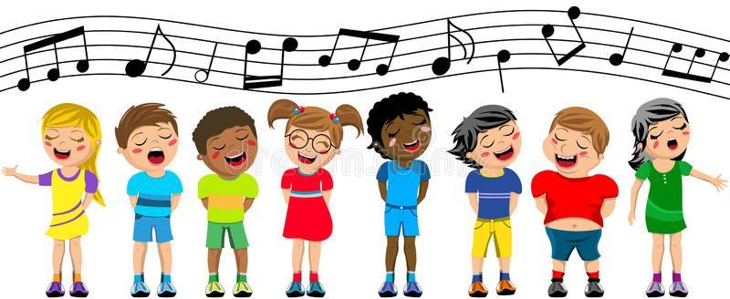 Choir clipart spring. Happy children kid singing