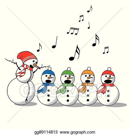 Vector art snowman singing. Choir clipart winter