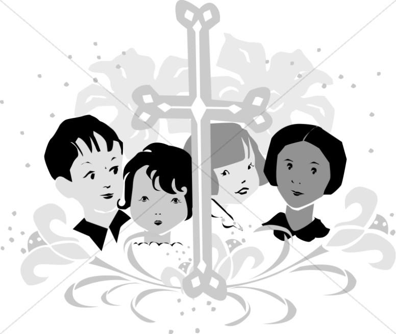 Grayscale. Choir clipart youth choir