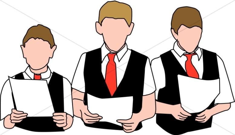 Three boys with vests. Choir clipart youth choir