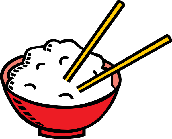 Chopsticks clipart. Bowl of rice and