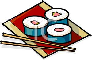 Sushi and . Chopsticks clipart