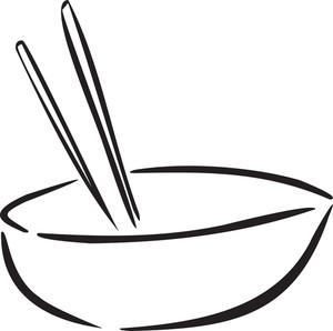 Soup with vector illustration. Chopsticks clipart bowl