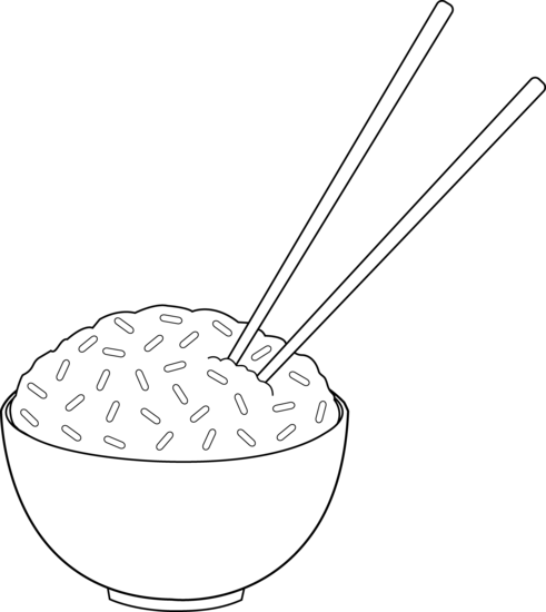 Line art of with. Chopsticks clipart bowl rice