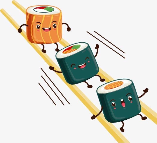 Chopsticks clipart cute. Cartoon sushi design vector