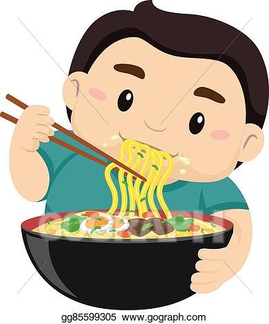 Eps illustration boy eating. Chopsticks clipart cute