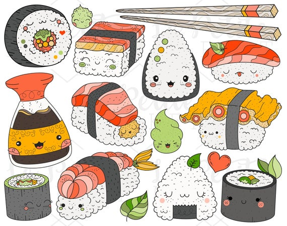 Kawaii sushi illustration set. Chopsticks clipart cute