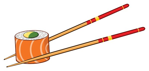 Chopsticks clipart logo. Sushi roll with premium