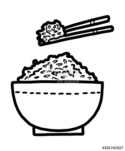 Rice clipart sketch. Chopsticks and bowl of