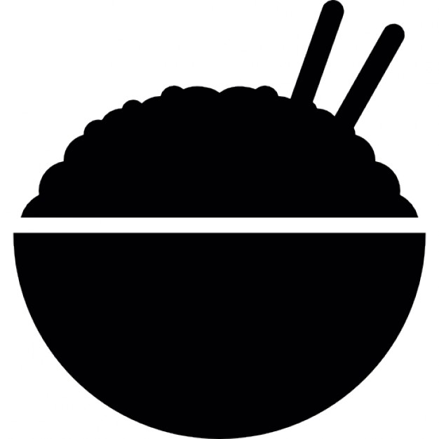 Chopsticks clipart rice dish. Bowl silhouette with side