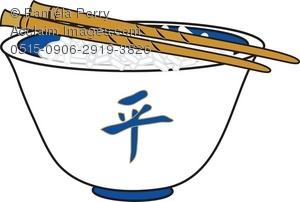 Clip art illustration of. Chopsticks clipart rice dish