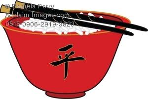 Chopsticks clipart rice dish. Clip art illustration of