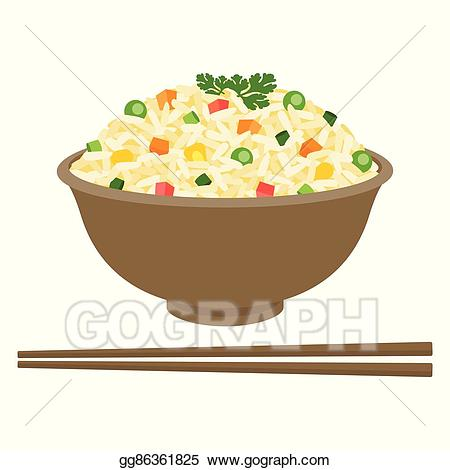 Vector fried in bowl. Rice clipart rice meal