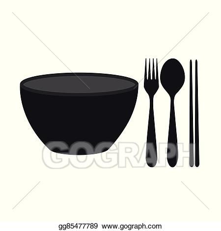 Chopsticks clipart spoon. Vector bowl fork and
