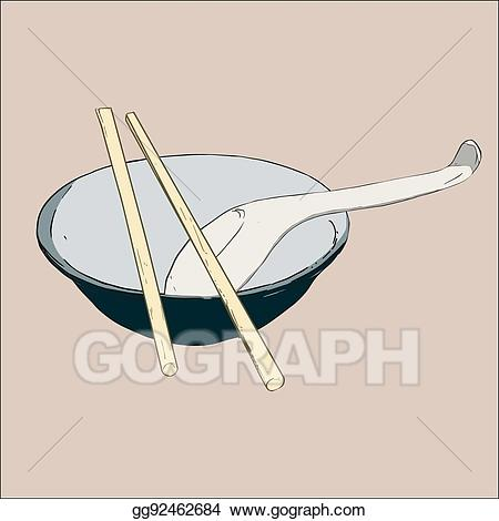 Chopsticks clipart spoon. Vector bowl and illustration