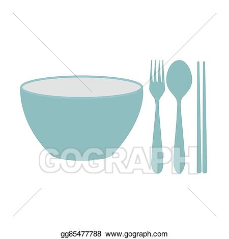 Vector bowl fork and. Chopsticks clipart spoon