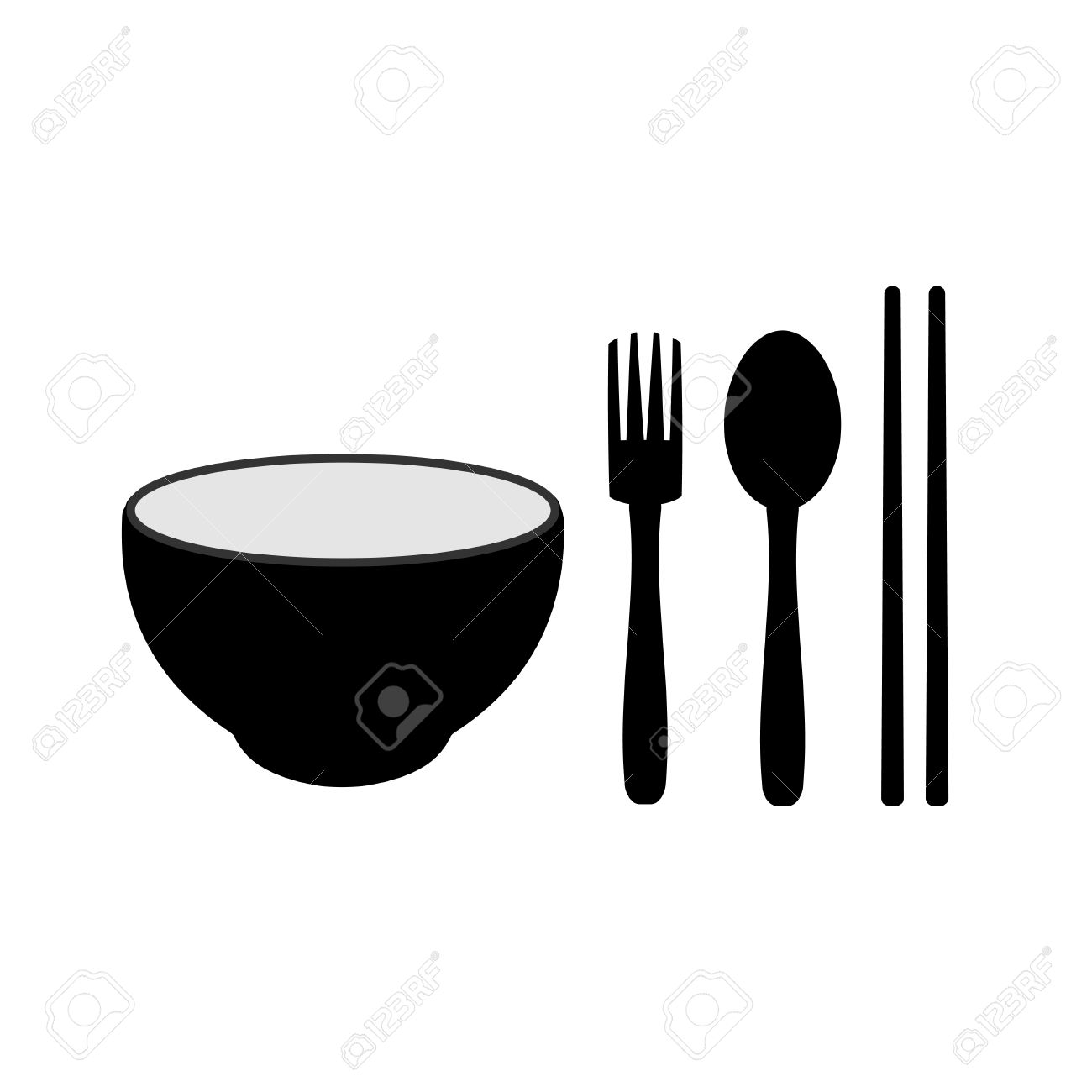 Pencil and in color. Chopsticks clipart spoon