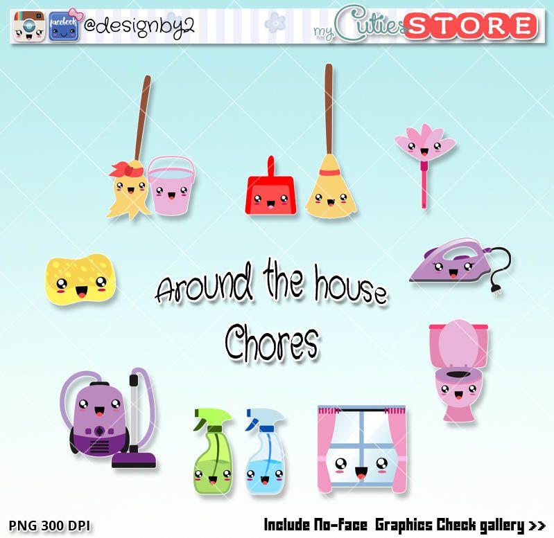 Little cuties household chores. Chore clipart bathroom