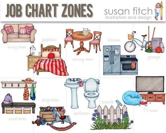 Chart cleaning zones clip. Chore clipart bathroom