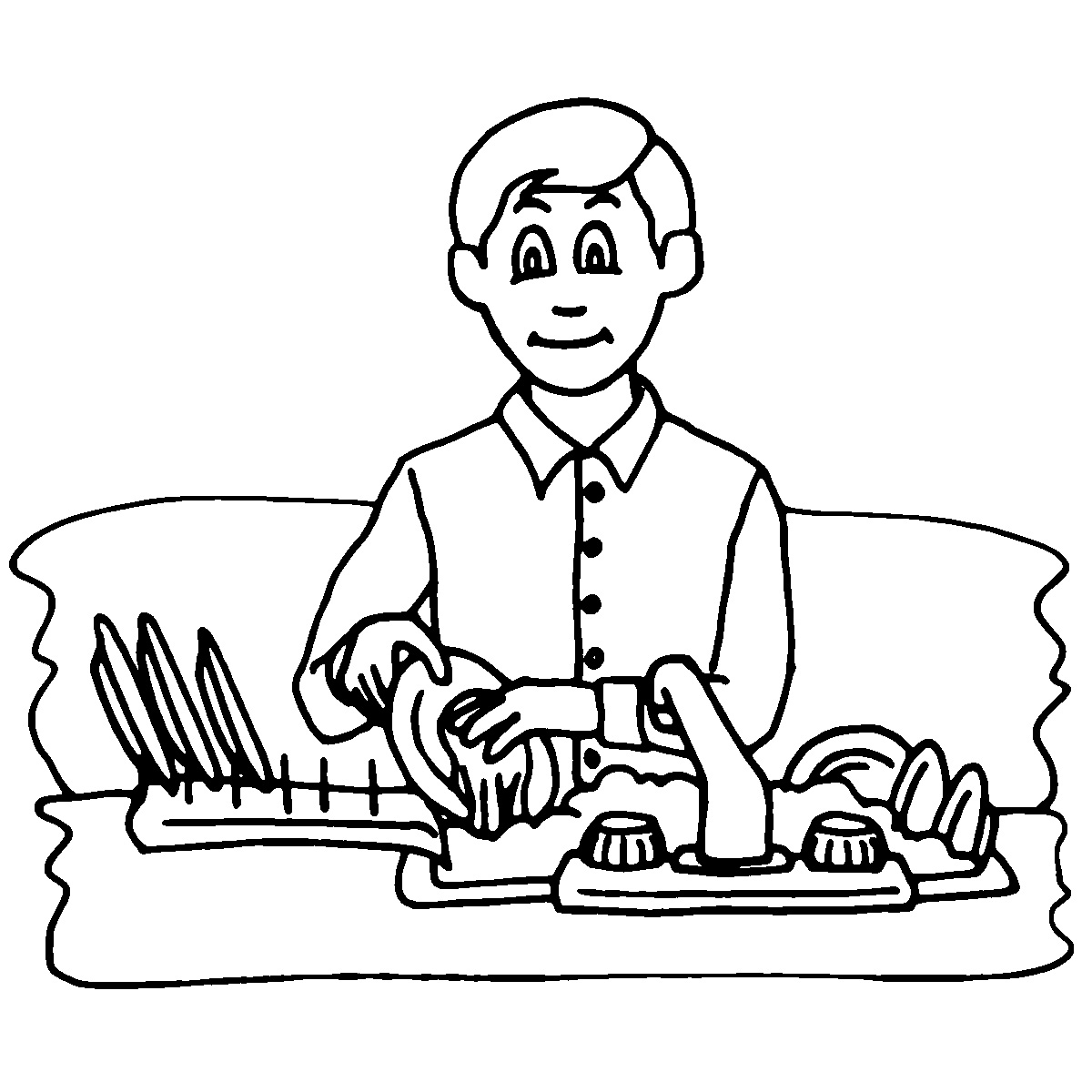 Chores clipart black and white.  collection of kids