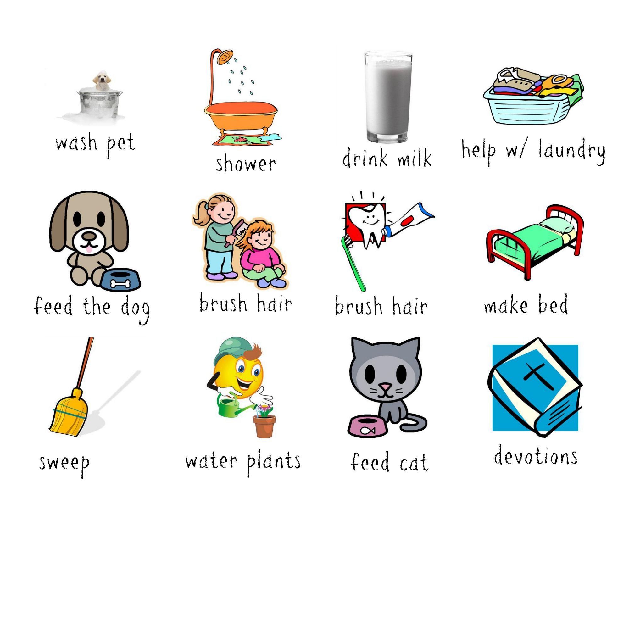 Planner clipart typical day. Free printable chore chart