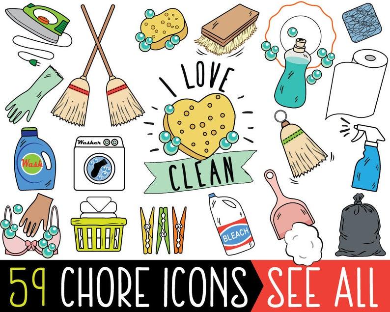 Chore clipart clip art. Jumbo bundle cleaning printable