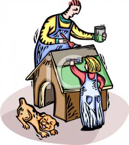A colorful cartoon of. Chore clipart father