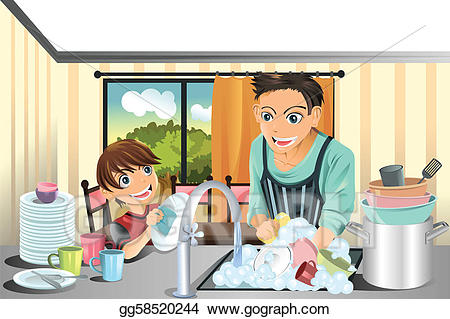 Clip art vector and. Chore clipart father
