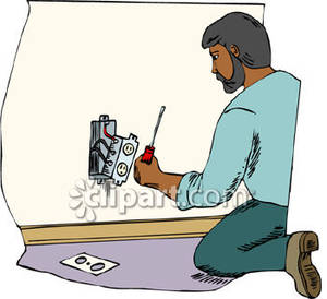 Electrician installing an outlet. Chore clipart father