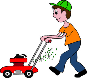 Boys doing chores . Chore clipart father