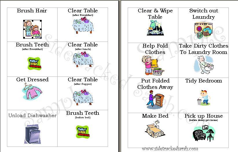 Free chore cards for. Chores clipart preschool