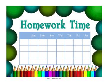 Printable chart . Chore clipart homework