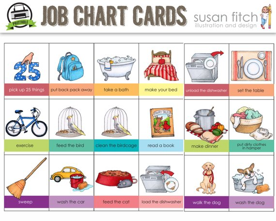 Printable chore cards products. Dishwasher clipart job chart
