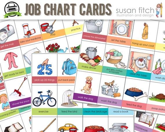 Printable job chart cards. Chore clipart homework