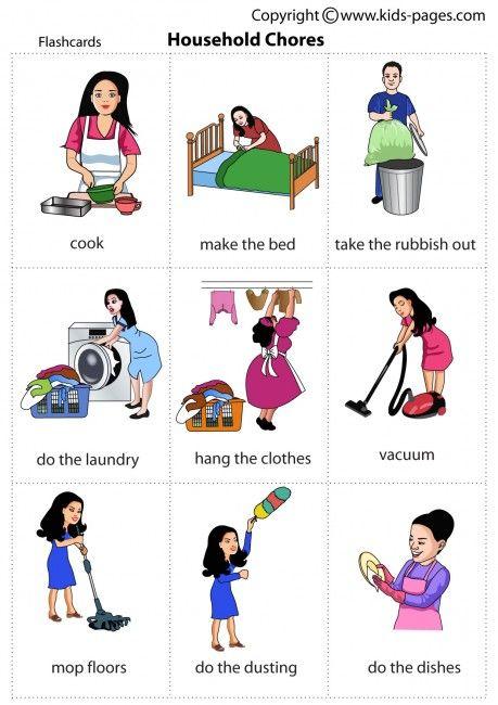 Chores clipart household activity. Kids pages premiers pas