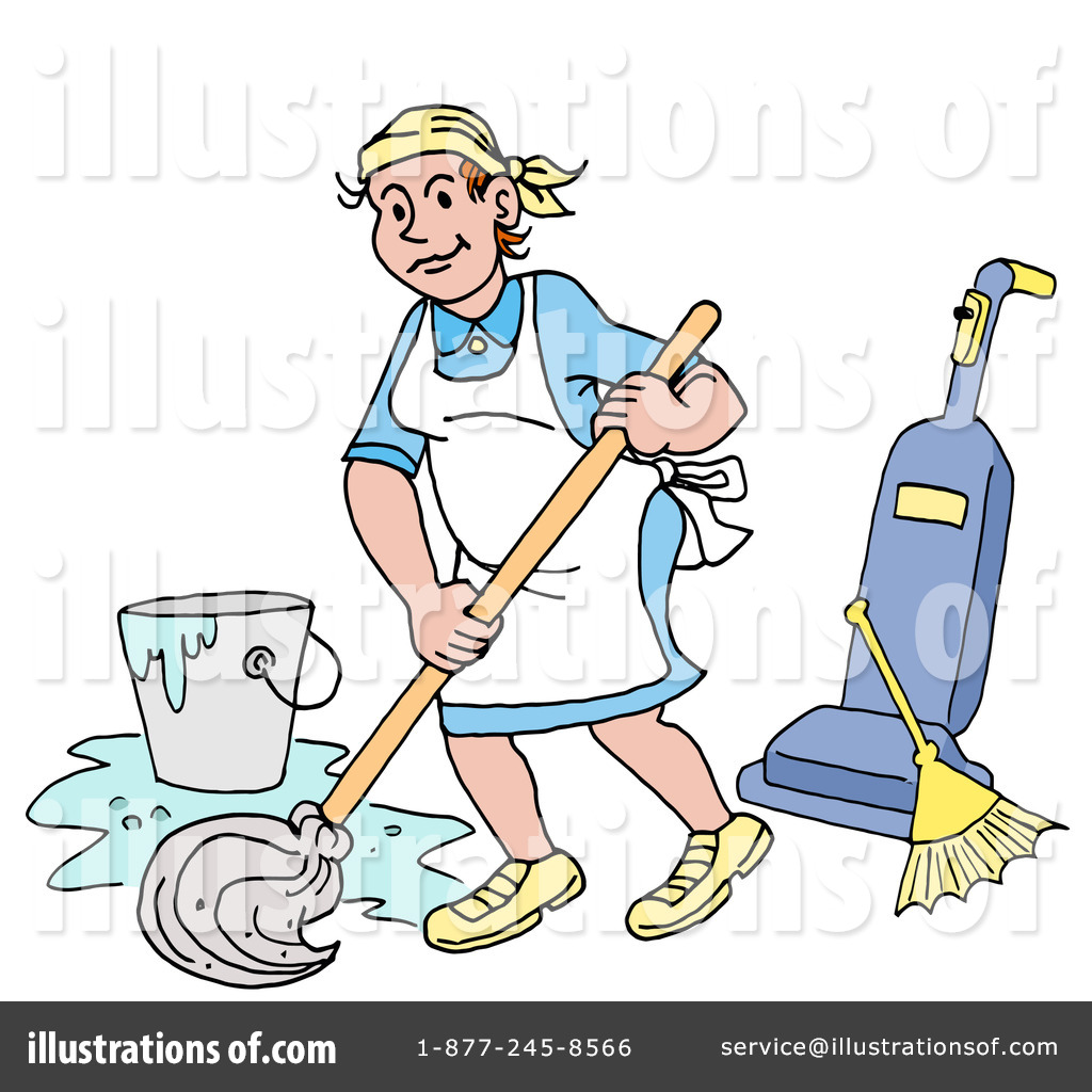 Cleaning illustration by lafftoon. Chore clipart janitorial