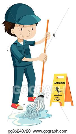 Eps illustration janitor mopping. Chore clipart janitorial