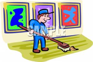 Chore clipart janitorial. Cartoon of a janitor