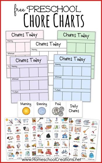 Free preschool chore charts. Chores clipart pre k