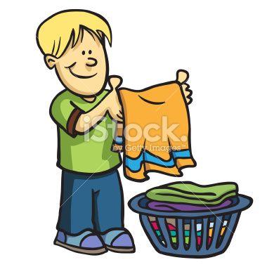 Chores clipart laundry. Fold boy laund summer