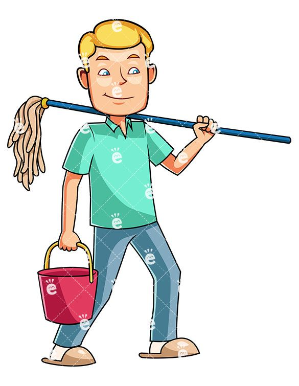 A man getting ready. Housekeeping clipart male