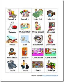 Chore charts card stock. Chores clipart preschool