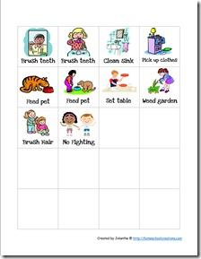 Preschool chore charts cards. Chores clipart pre k