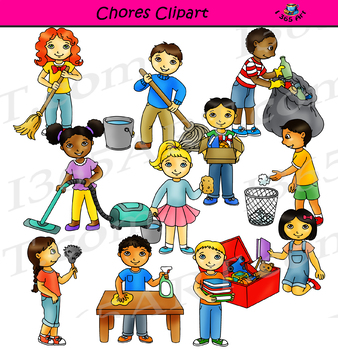 Chores cleaning the classroom. Clipart school chore