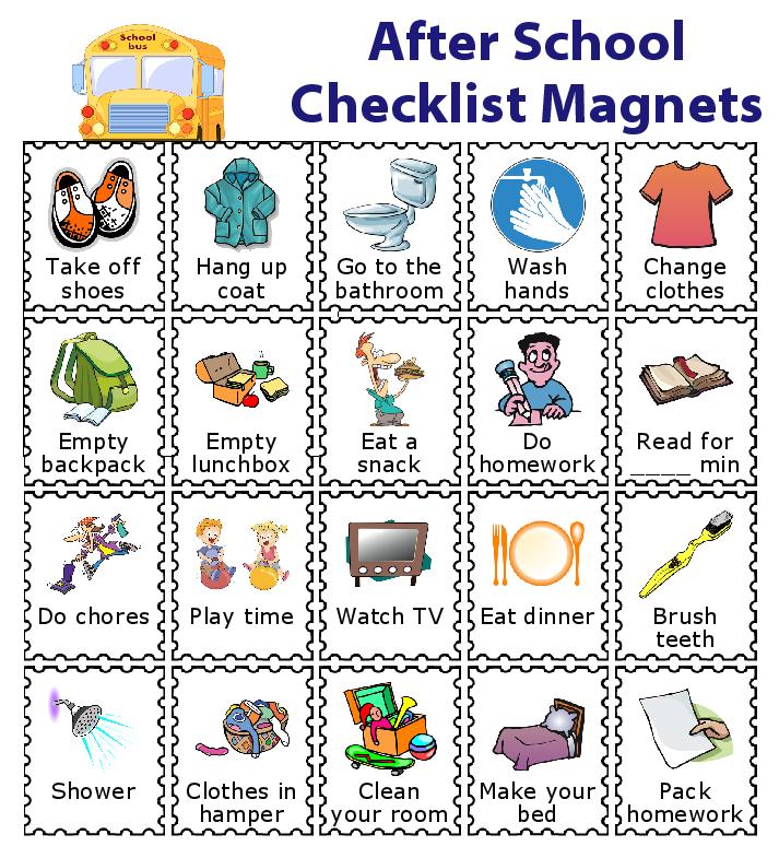 Chore clipart school. Make a magnetic checklist