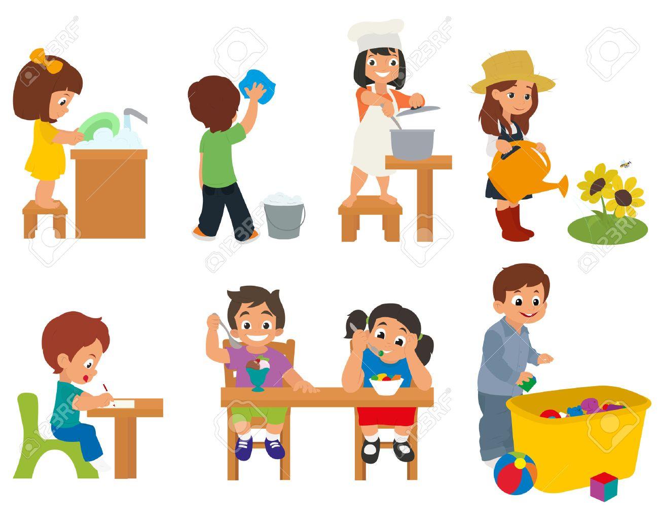 Chore clipart toddler. Children doing household chores