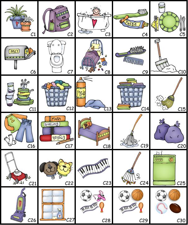 Chore pictures home chores. Chart clipart plain